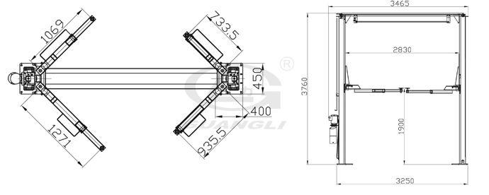 Cầu nâng 2 trụ Guangli GL3.5-2E1 cổng trên
